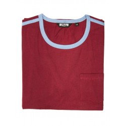 RELCO Mens RINGER T-Shirt With Pocket And Strypes - BURGUNDY