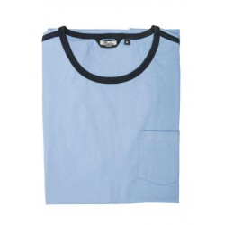 RELCO Mens RINGER T-Shirt With Pocket And Strypes - SKY BLUE
