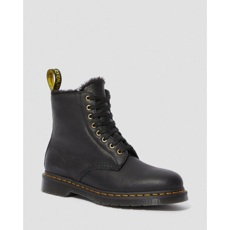 Dr. Martens 1460 PASCAL FUR LINED VIRGINIA Ankle Boots - BLACK