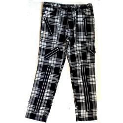 TIGER OF LONDON Zip Bondage Tartan Cotton Pants - BLACK AND WHITE