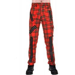 TIGER OF LONDON Zip Bondage Tartan Cotton Pants - RED