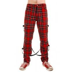 Pantalones Escoceses TIGER OF LONDON Cremalleras BONDAGE Con Correas -  ROJOS