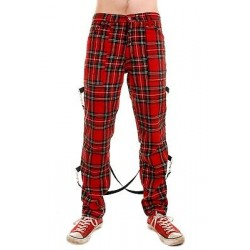 TIGER OF LONDON Zip Bondage Tartan Cotton With Straps Pants - RED