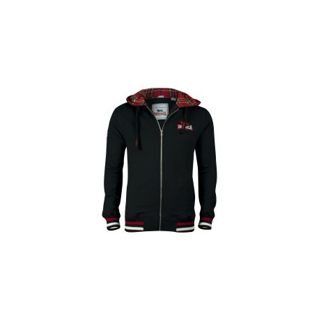LONSDALE Hooded Sweatshirt LANCASTER With Zip and Tartan - BLACK / Red and White