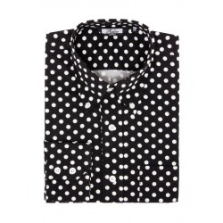 Mens Long Sleeve POLKA DOT Print Shirt - BLACK and WHITE