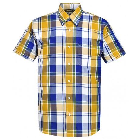 RELCO Mens Short Sleeve Yellow Print Shirt - YELLOW