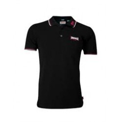 LONSDALE Polo Shirt  Slim Fit LION GOTS - BLACK With Dark red/White