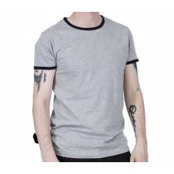 RELCO Mens RINGER T-Shirt With Pocket And Strypes - GREY
