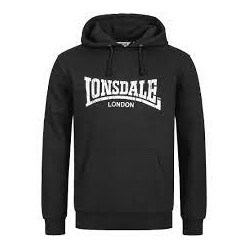 LONSDALE Sweatshirt Hooded WOLTERTON Black With White